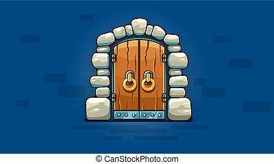 doré, porte, fée-conte, poignées, vecteur, entrance.