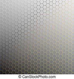 doré, résumé, light., arrière-plan., hexagones