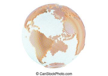 doré, résumé, rendre, globe, la terre, 3d