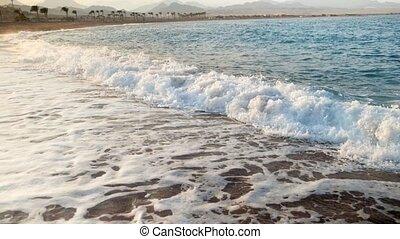 doré, ralenti, sable, vidéo, mer, vagues, rouler, plage coucher soleil, extrême