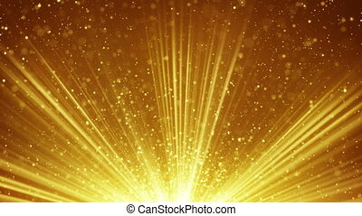 doré, rayons, lumière, loopable, particules, fond