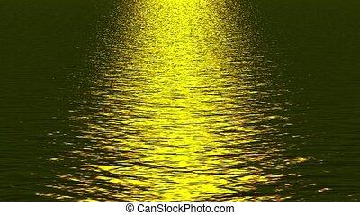doré, refléter, ocean., lumière