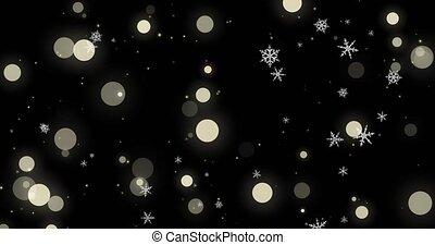 doré, render, arrière-plan., flocons neige, lumières, bokeh, noir, image, confetti, alpha, noël blanc, canal, 3d