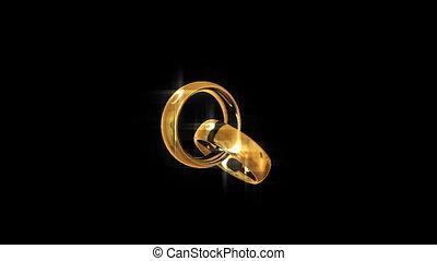 doré, rings., looping., deux, engagement.