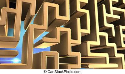 doré, rotation, labyrinthe