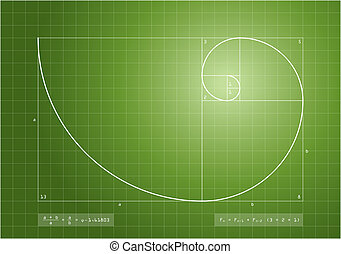 doré, séquence, -, fibonacci, spirale