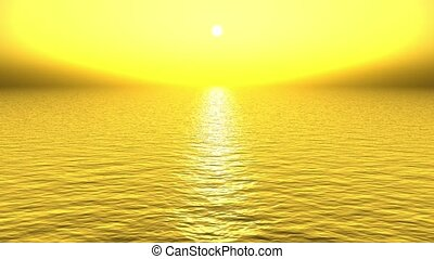 doré, soleil, refléter, mer, lumière