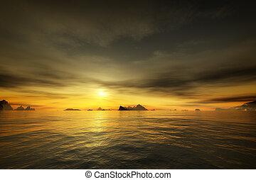 doré, sur, océan coucher soleil