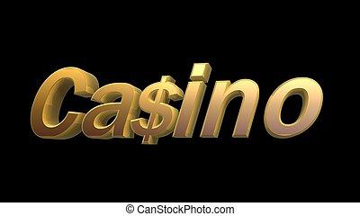 doré, symbole, casino, dollar