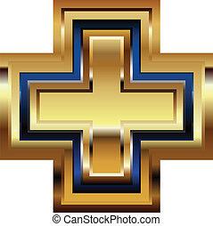 doré, symbole, croix