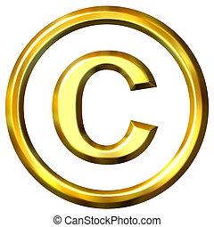 doré, symbole, droit d'auteur, 3d