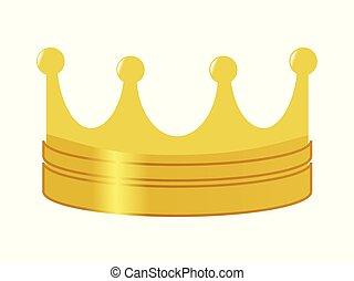 doré, symbole, puissance, couronne