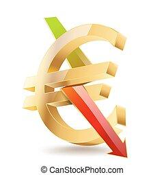 doré, symbole, signe, flèche, tomber, euro