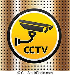 doré, symbole, vidéo, fond, surveillance