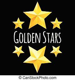 doré, symbols., étoile, jaune, vecteur, éléments conception