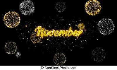 doré, texte, feux artifice, clignotant, particules, novembre, exposer
