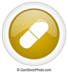 doré, toile, drogues, app, illustration, bouton, mobile, conception, lustré, icône, rond