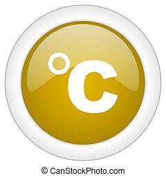 doré, toile, mobile, app, illustration, bouton, celsius, conception, lustré, icône, rond