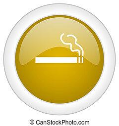 doré, toile, mobile, app, illustration, bouton, cigarette, conception, lustré, icône, rond