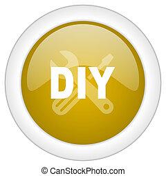 doré, toile, mobile, app, illustration, bouton, conception, bricolage, icône, rond, lustré