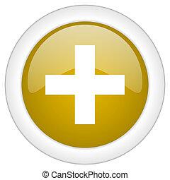 doré, toile, mobile, app, illustration, bouton, plus, lustré, icône, conception, rond