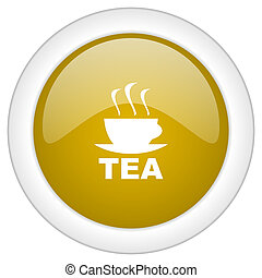 doré, toile, mobile, thé, app, illustration, bouton, conception, lustré, icône, rond