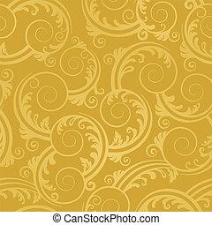 doré, tourbillons, papier peint, seamless