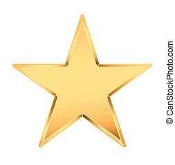 doré, vecteur, étoile, white., illustration