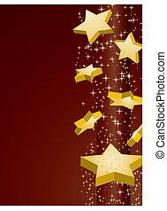 doré, vecteur, brun, illustration, fond, étoiles, tir