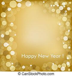 doré, vecteur, fond, année, nouveau, heureux