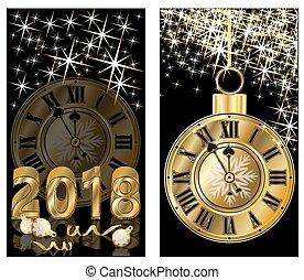 doré, vecteur, illustration, bannières, 2018, année, nouveau, heureux