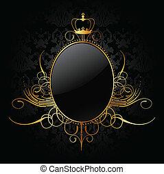 doré, vecteur, royal, frame., fond