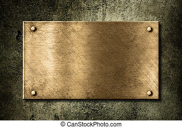 doré, vieux, plaque, mur, ou, bronze