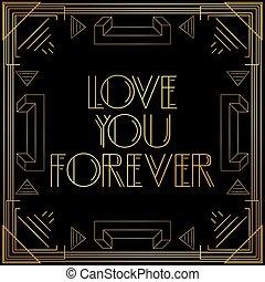 doré, vous, letters., décoratif, signe, amour, toujours, vendange