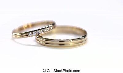 doré, yelow, anneaux, fond, mariage, rotation, blanc, boucle