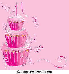 dorlotez fille, anniversaire, petit gâteau