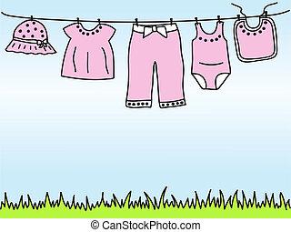 dorlotez fille, clothesline, vêtements