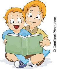 dorlotez garçon, livre, frère, lecture