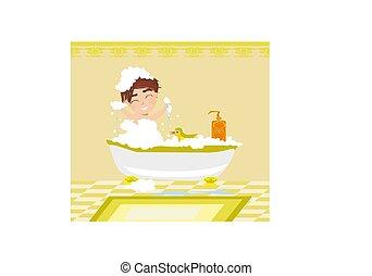 dorlotez garçon, prendre, jouer, bain