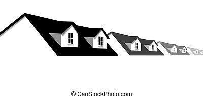 dormer, fenetres, toit, maisons, maison, frontière, rang