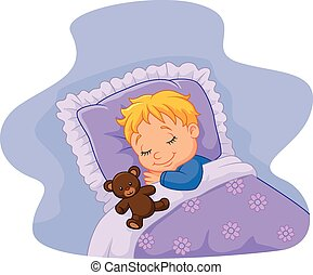 dormir, être, teddy, bébé, dessin animé
