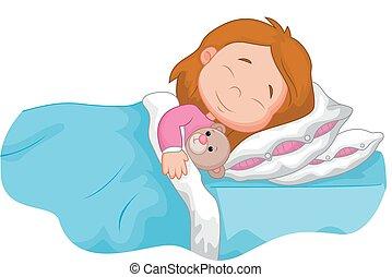 dormir, dessin animé, girl, bourré