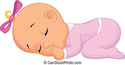 dormir, dorlotez fille, dessin animé