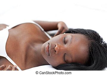 dormir, femme, lit, décontracté, mensonge, elle