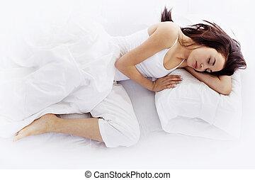 dormir, femme, lit, jeune, blanc
