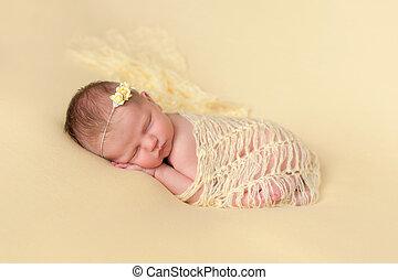 dormir, girl, nouveau-né, emmailloté, jaune