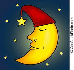 dormir, illustration, lune