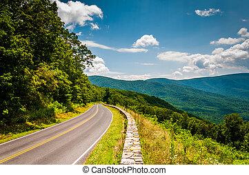 dorsale bleu, virginia., national, conduire, shenandoah, parc, horizon, montagnes, vue