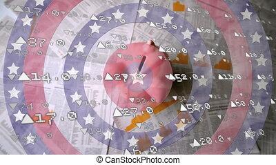 dos, cercles, rotation, étoiles chute, données, stockage, contre, marché, porcin, traitement