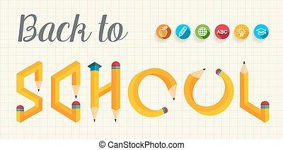 dos, créatif, école, lettres